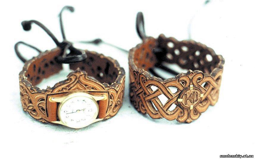 Ажурные браслеты из кожи своими руками